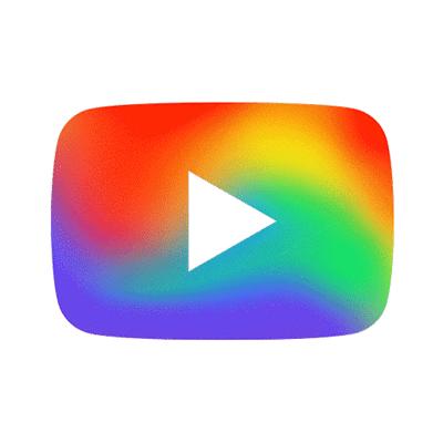 YouTube-Logo in Regenbogenfarben