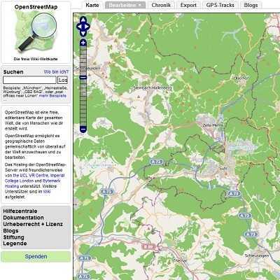Screenshot von OpenStreetMap