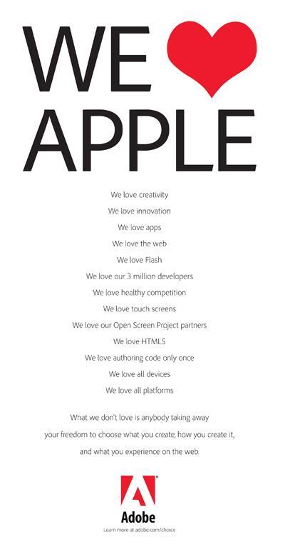 """""""We Love Apple"""", sagte Adobe – Apple-Chef Steve Jobs mochte Flash trotzdem nicht."""