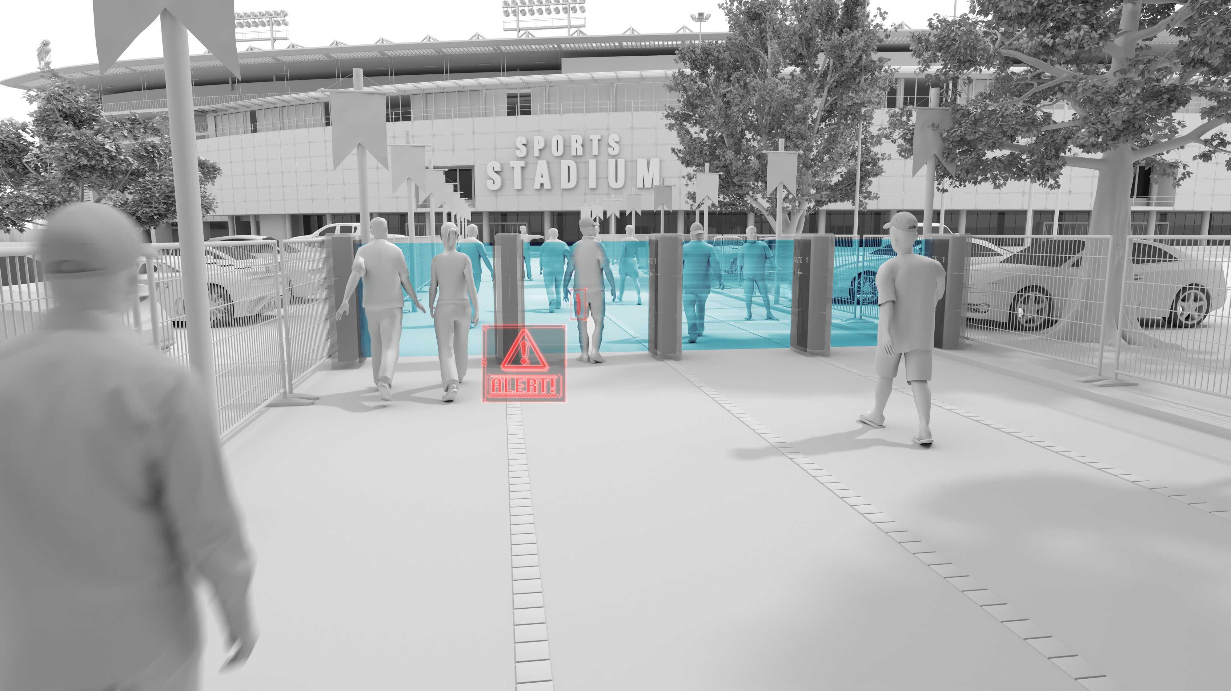 """Gerendertes Bild, dass Scanner-Schleusen des """"HEXWAVE"""" Systems zeigen"""