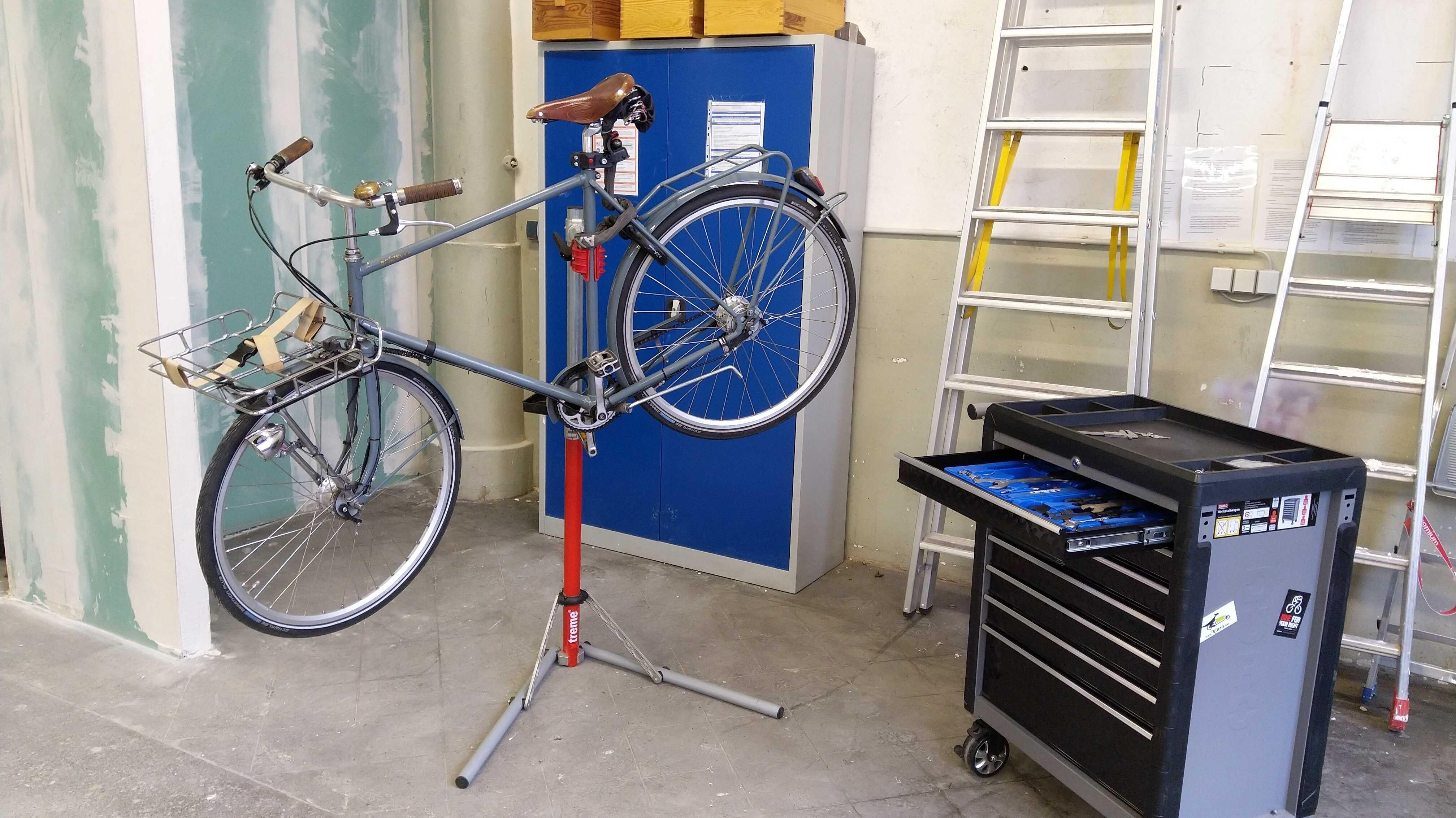 Fahrrad in der Welcome Werkstatt in Hamburg.