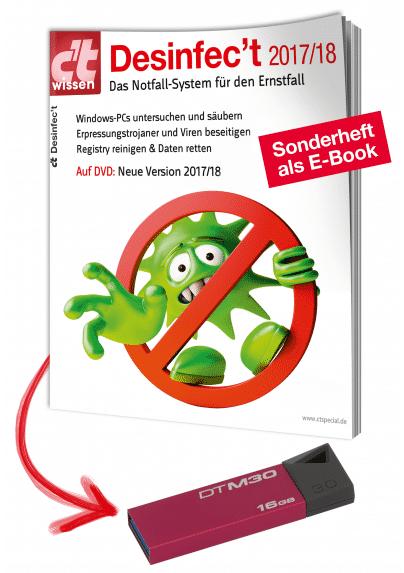 USB-Stick statt DVD: Ab sofort ist der Desinfec't-Stick im heise Shop erhältlich.