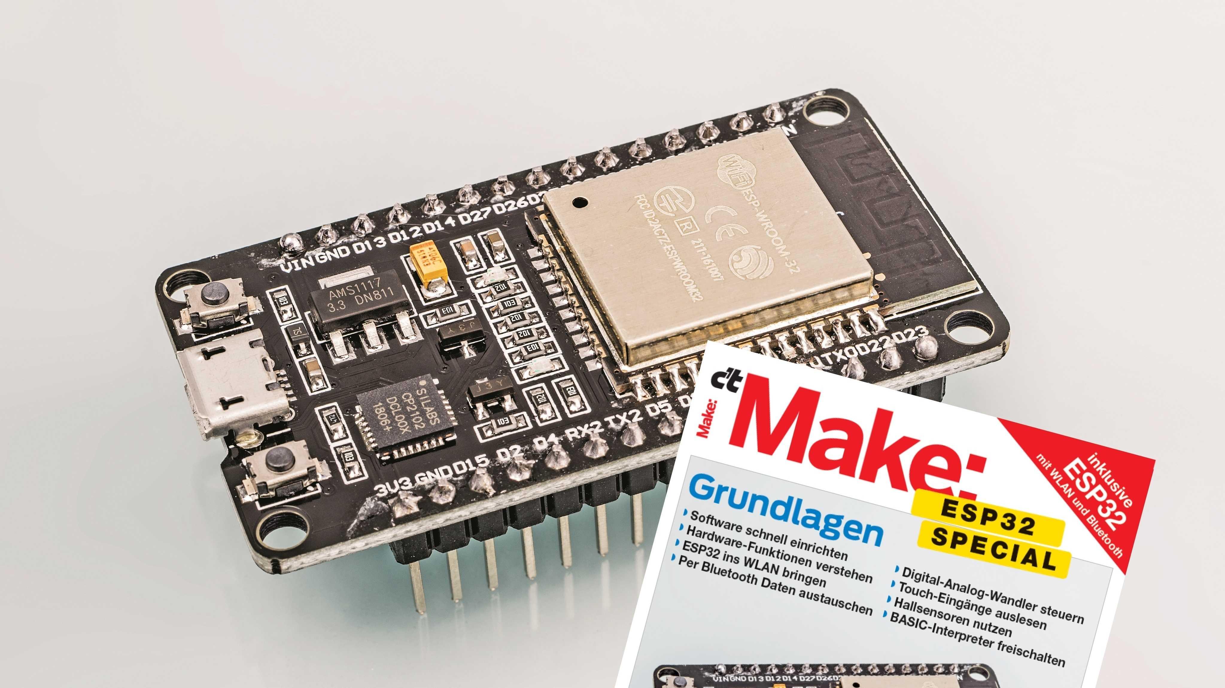 Mikrocontrollerboard ESP32 mit Titelbild des Make-Specials ESP32.