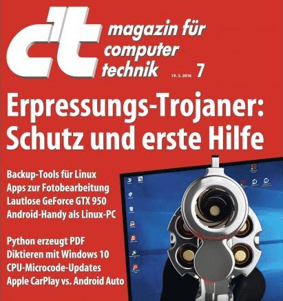 """Lesen Sie dazu die Titel-Story """"Erpressungs-Trojaner: Schutz und Erste Hilfe"""" in der aktuellen Ausgabe der c't 7/2016. Das Heft ist ab sofort online und am Kiosk erhältlich."""