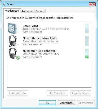 Mit dem SP2 kann Vista nun auch mit Stereokopfhörern umgehen, die via Bluetooth angeschlossen sind.