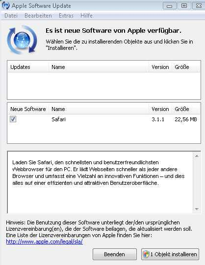 Der Update-Dialalog unter Windows Vista