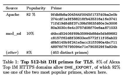 Die zwei obersten Primzahlen sind bei fast allen HTTPS-Seiten, die DHE_Export erlauben, im Einsatz.