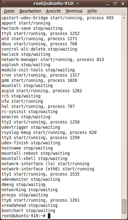 Die Upstart-Jobs von Ubuntu 9.10