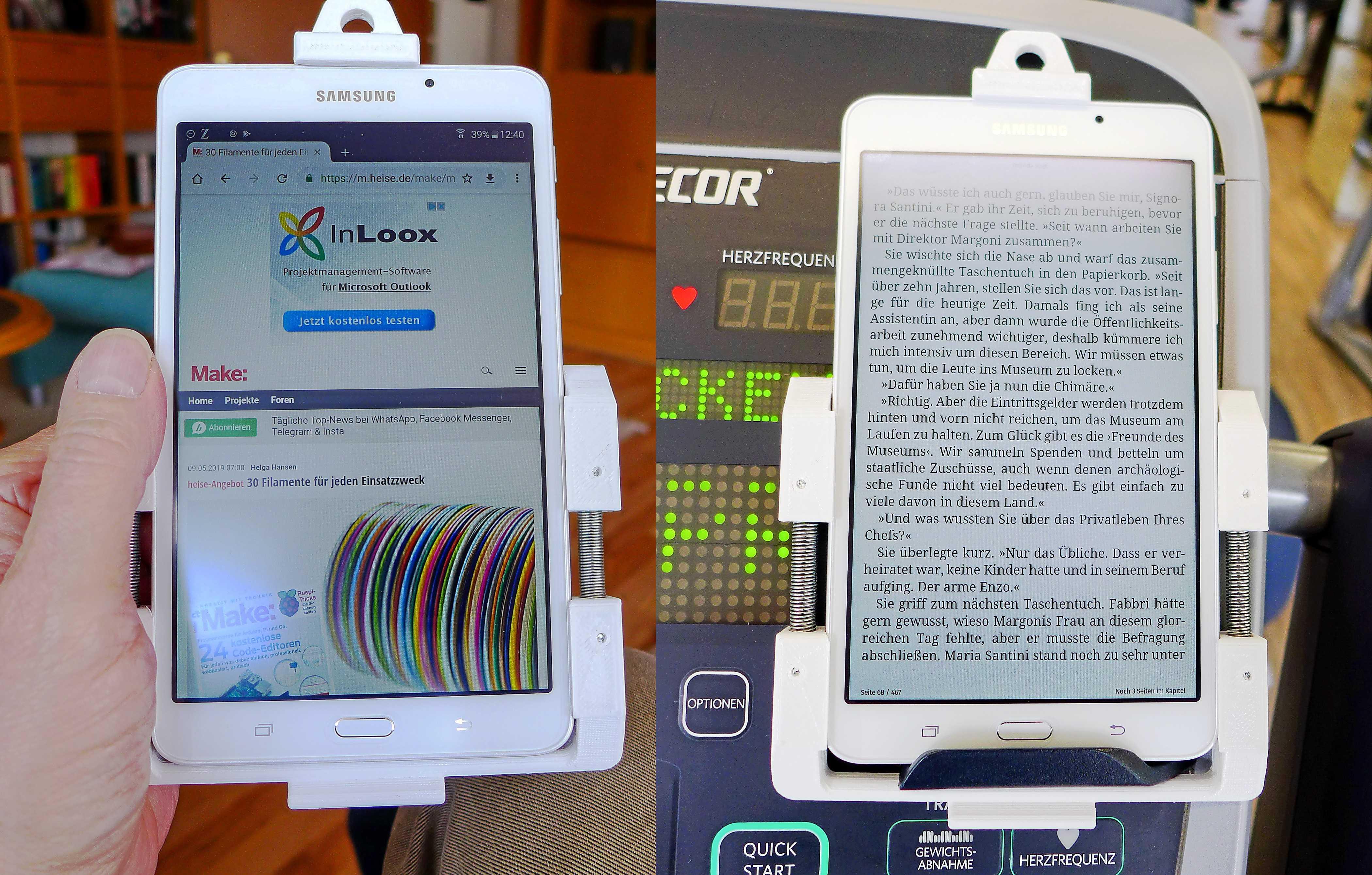 Collage: Tablet in 3D-gedruckter Halterung, angeklemmt an einem Kontrollpaneel eines Laufbands und einer Hand.