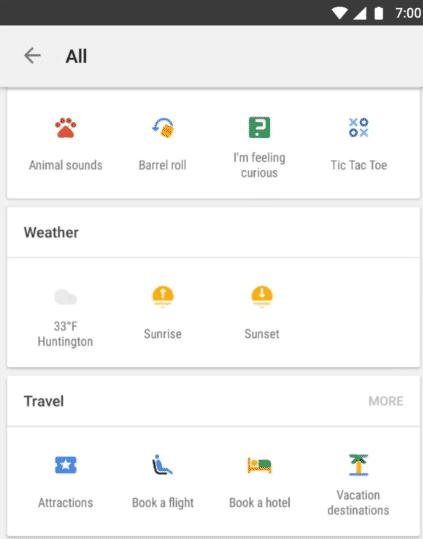 """Bunte Icons führen in der Google-App zum aktuellen Wetter und zu anderen interessanten Dingen wie """"Tic Tac Toe""""."""