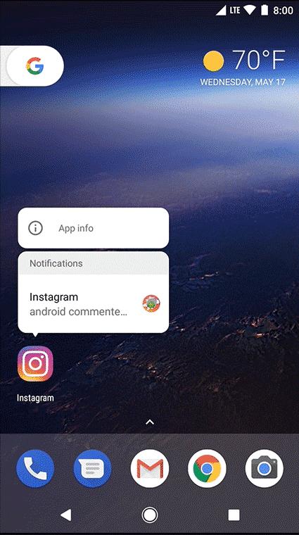 App-Benachrichtigungen lassen sich aus dem Icon abrufen.