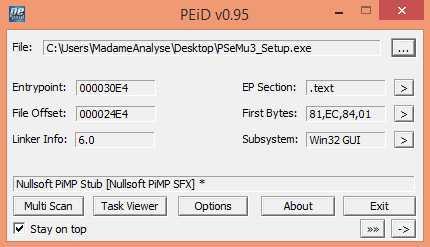 Das Analyse-Tool PEiD zeigt, dass die PSeMU3_Setup.exe auf einen Nullsoft Installer setzt. Diese werden oft als Dropper für Malware genutzt.