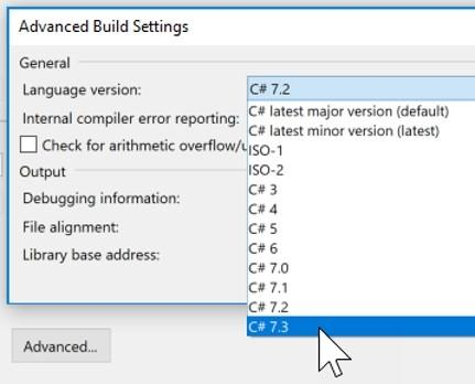 Einstellung der Build-Version in Visual Studio 2017 Update 7 (15.3)