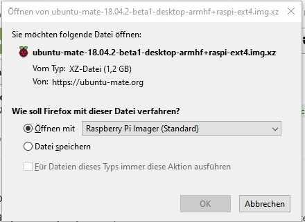 Der Pi-Imager baut sich in das Download-Menü von Firefox ein.
