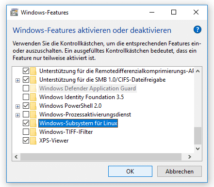 Windows-Features, Dialog