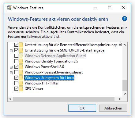 Windows-Features, Dialog