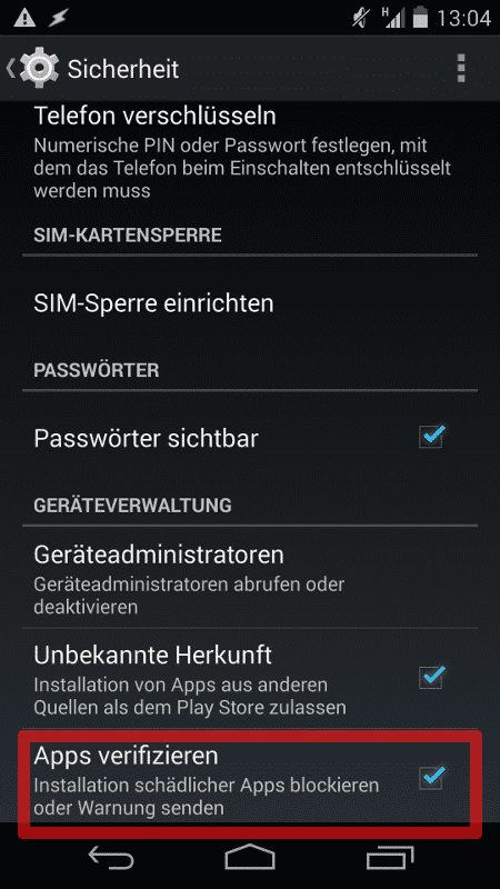 Apps verifizieren