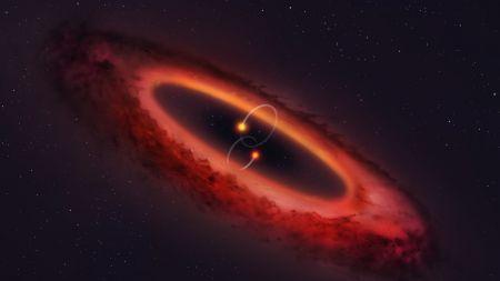 Noch ein Ort für Exoplaneten: Erste polare protoplanetare Scheibe in Doppelsternsystem