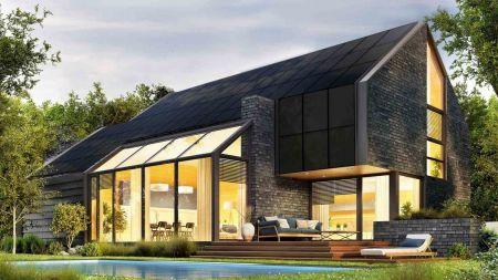 Dach mit eingebauten Solarzellen