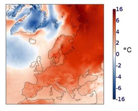 Temperaturanomalien in Europa im vergangenen Winter.