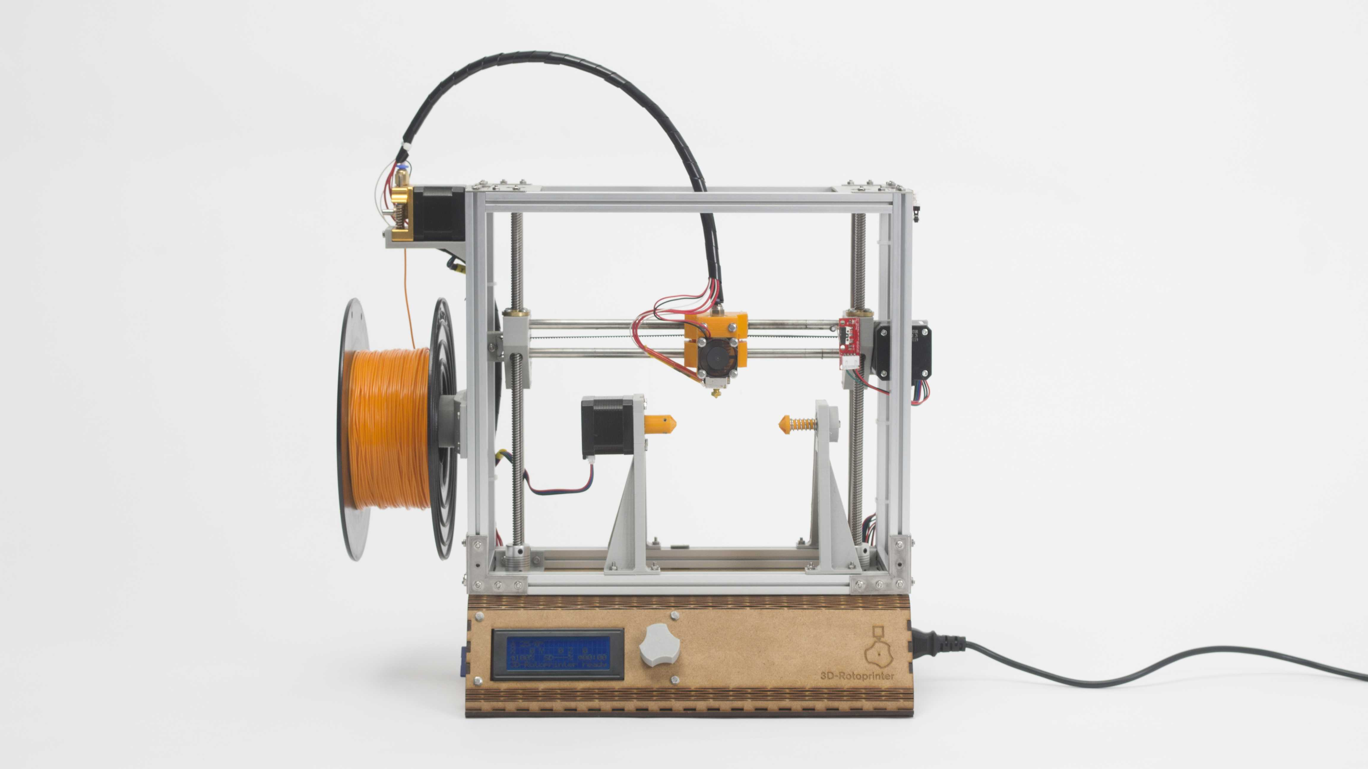 Ein 3D-Drucker der statt eines Drucktisch eine Vorrichtung für runde Drucke hat.