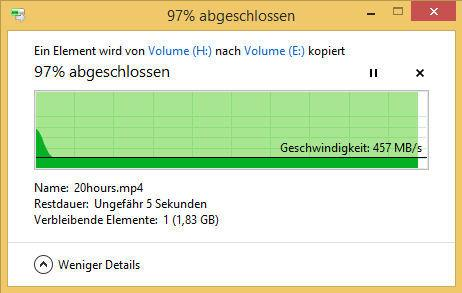 Beim Einsatz eines Pseudo-SLC-Caches sinkt die Datenübertragungsrate beim Kopieren großer Dateien nach kurzer Zeit auf einen konstanten Wert.