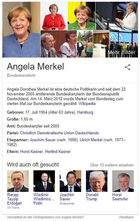 """Der """"Knowledge Graph"""" reichert die Google-Suchergebnisse mit Zusatzinfos an. Die Daten stammen oft von Wikipedia."""