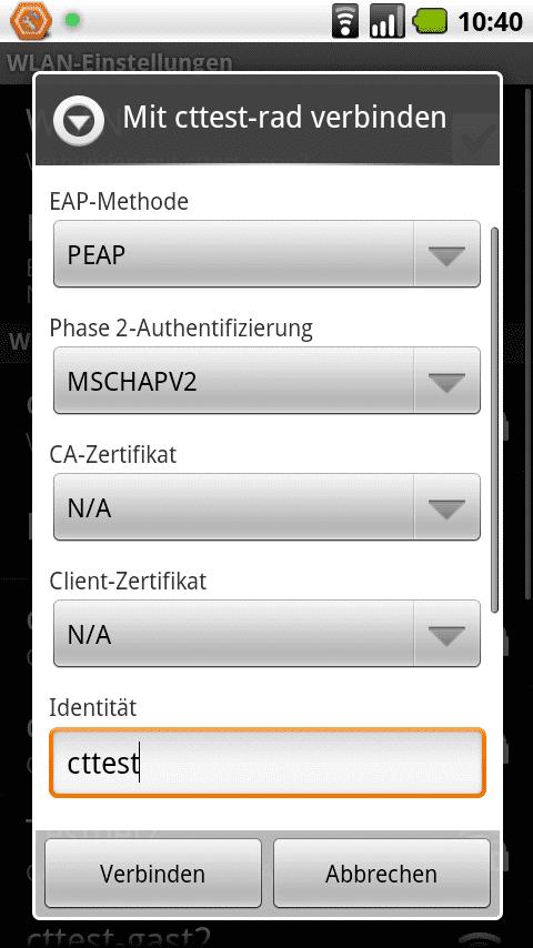 Die richtigen Einstellungen für ein Android-2.1-Handy lauten PEAP und MSCHAPv2.
