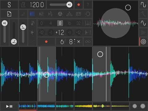 Die iPad-App Samplr manipuliert Wellenformen nach einem visuellen Konzept mit Wischgesten.