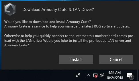 Auf einer frischen Windows-Installation ohne Netzwerkverbindung erscheint ein Pop-up zu Asus Armoury Crate