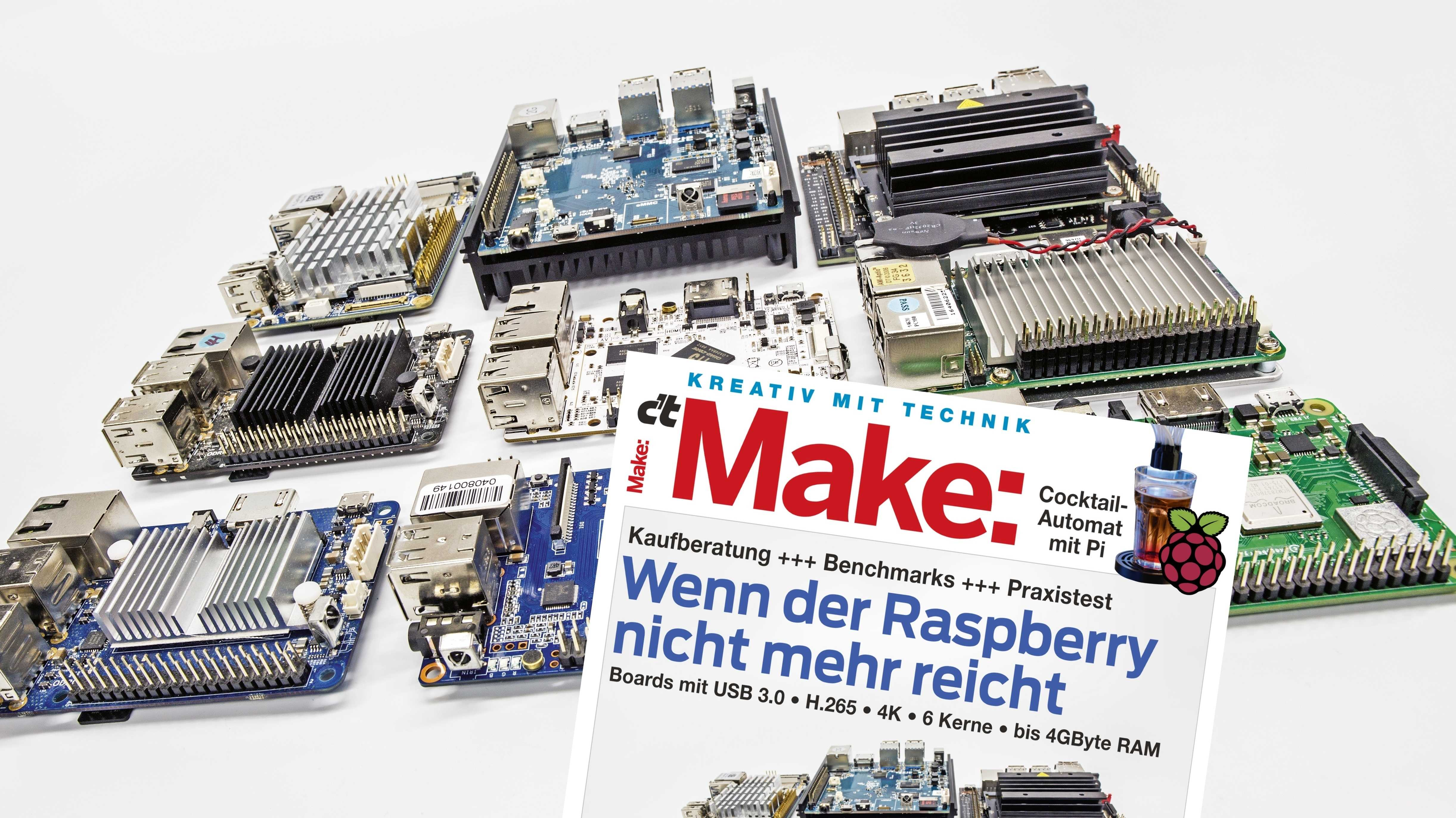 Make-Cover neben neun Einplatinenrechnern.