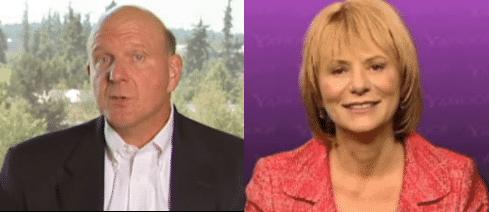 """Microsoft-Chef Steve Ballmer und Yahoo-Chefin Carol Bartz wollen die """"Landschaft bei den Suchmaschinen verändern""""."""