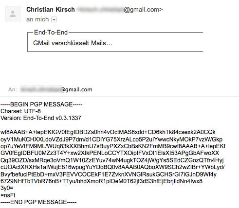 Screenshots verschlüsselter Mail