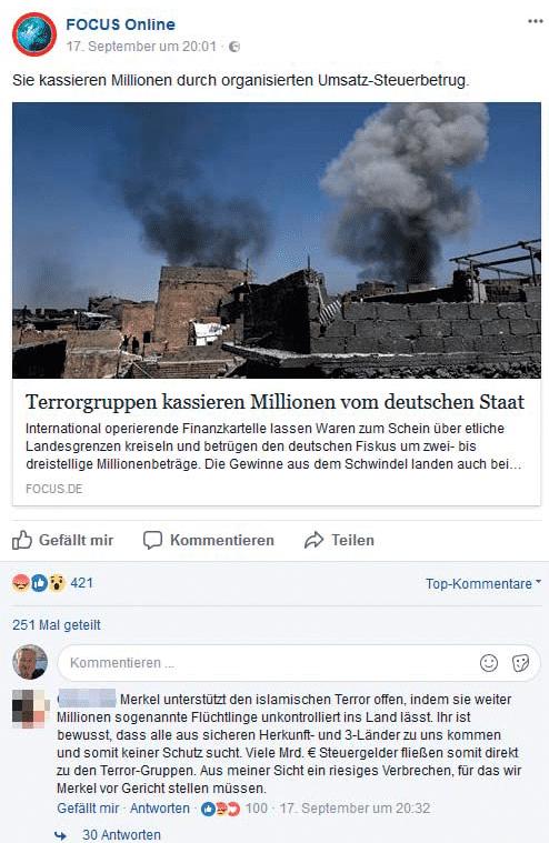 Auf seiner Facebook-Seite provoziert Focus Online mit reißerischen Headlines Kommentare vom rechten Rand der Gesellschaft – oft mit strafbarem Inhalt.