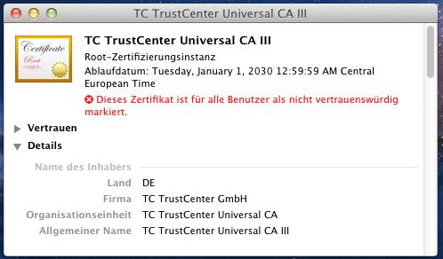 Mac OS X patzt bei Zertifikatsüberprüfung | heise Security