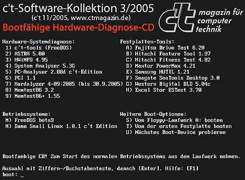 Die bootfähige Diagnose-CD hilft auch, wenn das eigentliche Betriebssystem streikt.