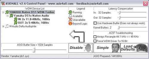 Alternative Treiber wie ASIO4all können helfen, die Audio-Latenz des Onboard-Soundchips in einen erträglichen Bereich zu senken, erfordern aber Geduld bei der Justierung.