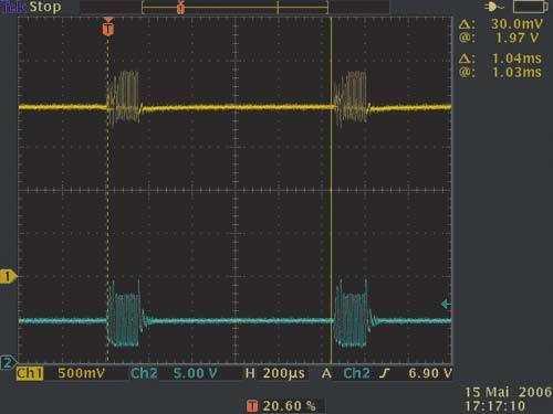 Ein 100-nF-Kondensator entfernt die kurzen hohen Spikes - die niedrigeren, aber längeren Störungen jedoch nicht.