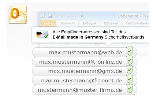Ein spezielles Add-in zeigt beim Mailprogramm Outlook an, ob eine Empfängeradresse Nachrichten über verschlüsselten Mail-Transport erhält (grüne Haken). Das Add-in setzt Outlook ab der Version 2010 voraus.