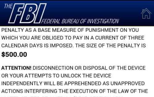 Diese Meldung stammt natürlich nicht vom FBI. Die Hacker fordern 500 US-Dollaer zum Entsperren des Gerätes ein.
