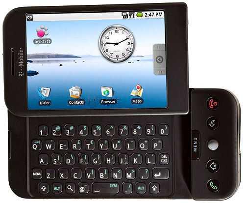 Das G1 wird mittels Touchscreen oder der ausziehbaren Tastatur bedient.