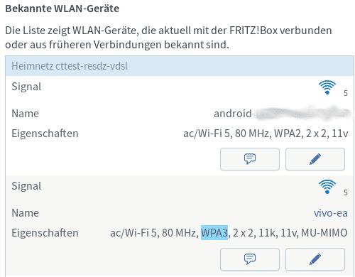 Mit der WiFi-6-Karte Intel AX200 baute die Fritzbox unter 7.19 problemlos eine WPA3-Verbindung auf.