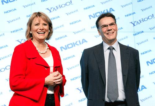 Carol Bartz (Yahoo) und Olli-Pekka Kallasvuo (Nokia)