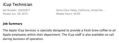 Kaffeeexperte für 40 Stunden die Woche in Cupertino gesucht: Apples Jobangebot.