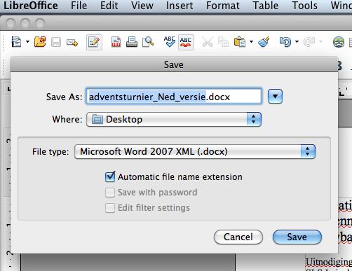 LibreOffice speichert auch im neueren .docx-Format.