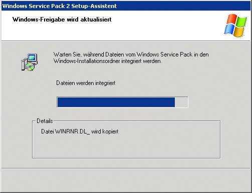 Das Skript kann die Installationsdateien mit dem Service Pack 2 auffrischen, bevor es die neue CD erstellt.