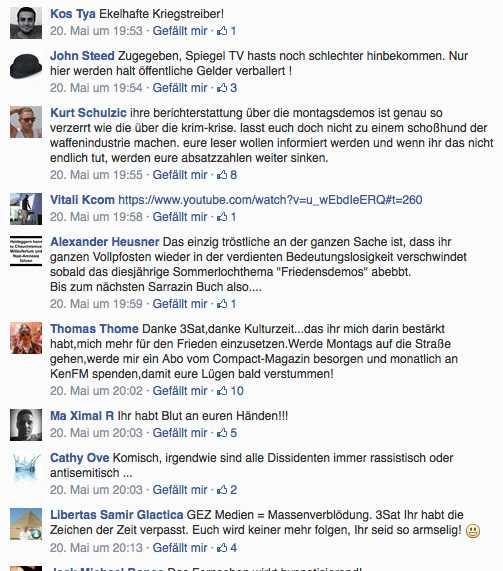 Ausschnitt aus den Kommentaren zu einem Kulturzeit-Beitrag über die neuen Montagsdemos