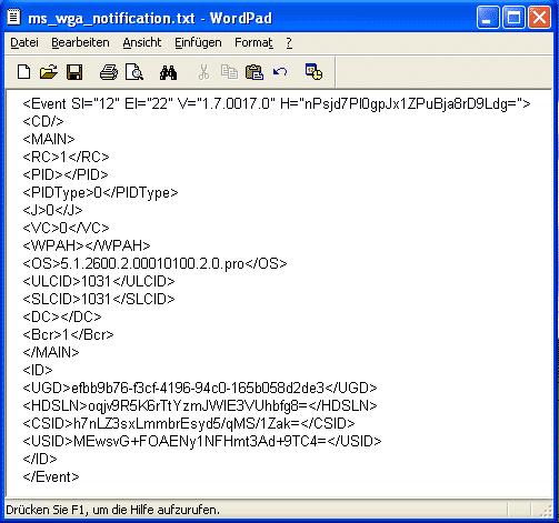 WGA-Abbruch Übertragene Daten